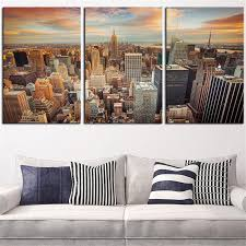 <b>NO FRAME 3pcs</b> new-york-city-seen-sundown <b>Printed</b> Oil Painting ...