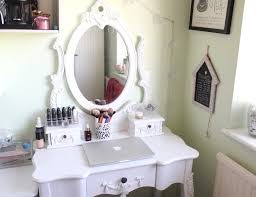furniture fancy carved white wooden frame mirror vanity table dresser with storage and drawer charming makeup table mirror lights