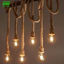 Buy Online 1/2/3/4/5 head <b>vintage</b> hemp rope <b>pendant</b> light <b>retro loft</b> ...