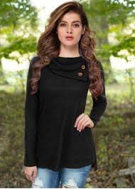 <b>Casual Buttoned Cowl Neck</b> Solid Color Long Sleeve T-Shirt For ...