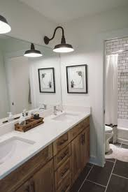 wall sconces bathroom lighting designs artworks: subway tile kids bathroom white walls gray floors benjamin moore swiss coffee cambria whitehall delta faucets black and white farm lights