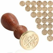 Retro <b>Wax Seal</b> Wood Stamp <b>Copper Head</b> Wood Handle Wax ...