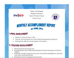 monthly accomplishment report sample amp guide  deped lp  s monthly accomplishment report sample amp guide