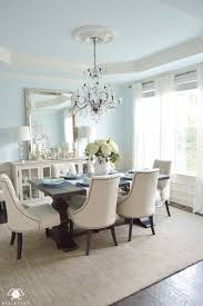 hardware dining table exclusive: blue elegant dining room with white hydrangeas and