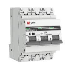<b>Автоматический выключатель 3P 10А</b> (C) 6кА ВА 47-63 EKF ...