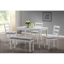 Monarch Dining Set <b>5Pcs Set</b> / White Bench And 3 Side Chairs ...