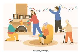 Free Vector | <b>Christmas cartoon</b> family preparing <b>decoration</b>