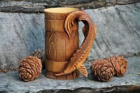 Fish Wooden <b>Barrel Beer</b> Mug | Wood <b>Beer</b> Mug | Wood <b>Beer</b> Stein ...