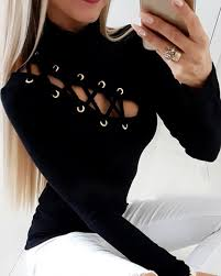 Lace-Up Eyelet <b>Hollow Out T-Shirt</b> Online. Discover hottest trend ...
