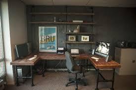 industrial pipe office desk build rustic office