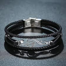GAGAFEEL <b>Mens Leather</b> Bracelet <b>Braided</b> Wristband Cuff Music ...