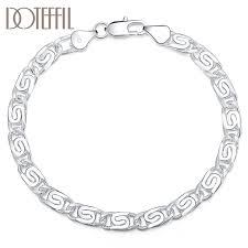 DOTEFFIL <b>925 Sterling Silver Geometry</b> Bracelet For Women Man ...