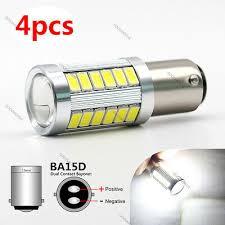<b>4X</b> NEW White BA15D 33X <b>5630 SMD</b> LED Light bulbs Car Daytime ...