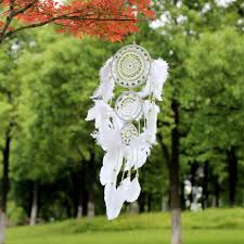 White Lace Flower <b>Dreamcatcher</b> Wind Chimes <b>Indian</b> Style Feather ...