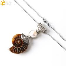 <b>CSJA Natural Gemstone</b> Necklace Ammonite Fossil Conch Shell ...