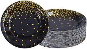 Aneco 60 Pieces 9 Inches Black Bronzing Disposable <b>Paper Plates</b>
