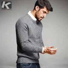 KUEGOU <b>New Autumn Mens</b> Sweaters Striped Patchwork Blue ...