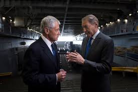 u s department of defense photo essay defense secretary chuck hagel left talks charlie rose journalist and anchor of