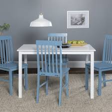Walker Edison <b>Modern 5-Piece</b> Dining Set - White / Powder Blue ...