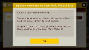<b>Super Mario</b> Maker 2 ups course upload limit to 64, Nintendo will do it