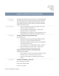 general contractor resume samples tips and templates general contractor resume templates