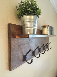 ideas wall shelf hooks: rustic wall mounted coat rack with shelf entry way modern wall decor hallway shelf with hooks coat organizer mail holder