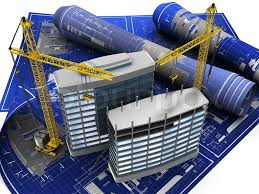 abstract 3d illustration of building construction on blueprint stock photo abstract 3d office building