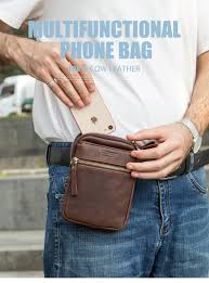 CONTACT'S 100% genuine <b>leather</b> men waist pack for cell phone ...