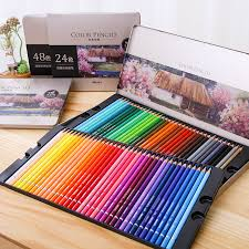 <b>DeLi</b> 24/36/48/72 Colors <b>Oily Color Pencil</b> Set Iron Box Colour ...