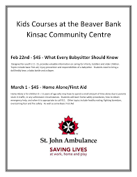 beaver bank kinsac community centre babysitting and home alone courses for kids