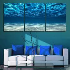 3 panels canvas paiting <b>Print</b> Blue Ocean Wall Art <b>Picture</b> Seaview ...