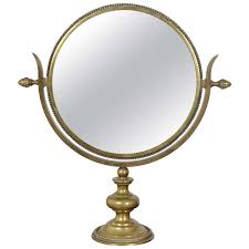 table mirror: french brass neoclassical table mirror