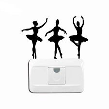 Ballerinas <b>Silhouette Vinyl</b> Light <b>Switch Sticker</b> Ballet Dancer Wall ...