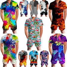 Mens <b>Flamingo 3D Print</b> One-piece Zip Jumpsuit Romper Short ...