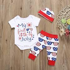 Newborn <b>Baby</b> Clothes <b>Set</b> 4th Of July <b>Girls</b> Boys Letter Printing ...