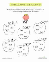 Simple Multiplication Apples   Worksheet   Education.comSecond Grade Multiplication Worksheets: Simple Multiplication Apples
