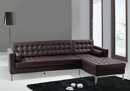 furniture l shaped dark brown leather couch with chrome base added by black floor lamp black and chrome furniture