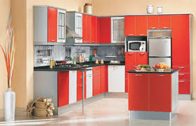 modular kitchen colors: alluring design ideas of modular small kitchen with l shape and white orange colors kitchen cabinets and black color granite countertop