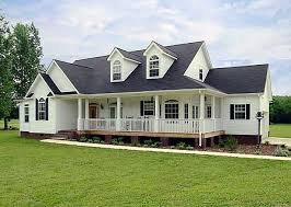 Traditional Style Ranch Farmhouse w  Wrap around Porch   HQ Plans    Beautiful facade and elevated wrap around porch