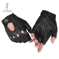 RITOPER <b>Genuine Leather Semi</b>-<b>Fingers</b> Gloves Male Breathable ...