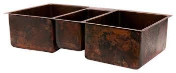 hammered copper kitchen sink: hammered copper kitchen triple basin sink quot rustic kitchen sinks