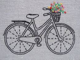 Bicycle embroidery pattern/ <b>kit</b> - natural <b>linen</b>, <b>black</b> bike, colorful ...