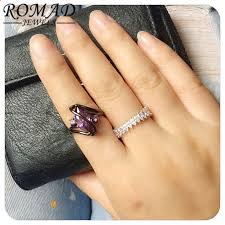 <b>ROMAD</b> Modni cvijet sjajan stvoren Sapphir prsten Purple i <b>Pink</b> ...