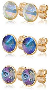 Xuping Round <b>2 Pairs 3</b> Pairs Stud Earrings Crystals from Swarovski ...