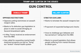 hillary clinton and donald trump on gun control issue business gun control graphic