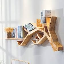 Amazon.co.jp: <b>Creative Wooden</b> Bookshelf <b>Wall Hanging</b>, <b>Wood</b> ...