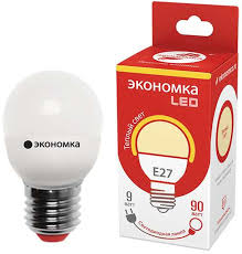 <b>Лампа</b> светодиодная <b>Экономка LED</b> GL45, цоколь <b>E27</b>, 9 Вт, 3000 ...