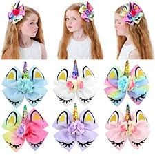 8inch Star Unicorn Large Baby Girl Hair Bows with ... - Amazon.com