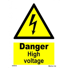 <b>DANGER HIGH VOLTAGE</b> (20x15cm) White Vin. IMO sign 187610WV