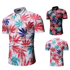 <b>Polo Shirt Men Leaf</b> floral print Men's Clothing Tops Business ...